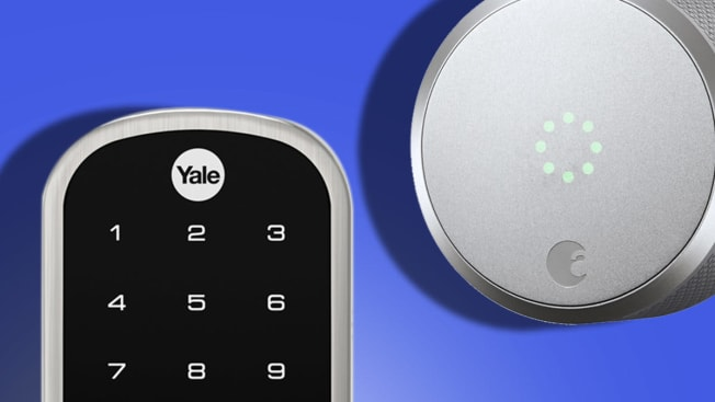 Closeups of the Yale and August smart locks