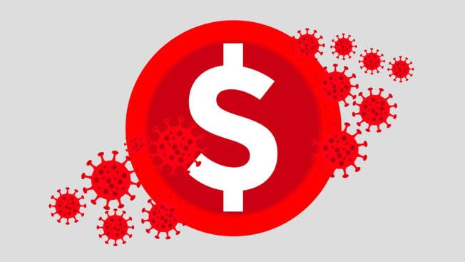 dollar sign and coronavirus icons