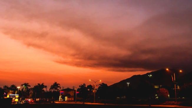 Red sky with wildfire smoke