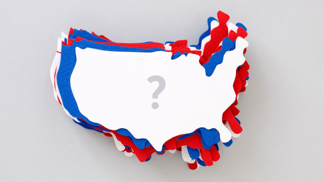 red, white and blue US paper maps stacked with question mark