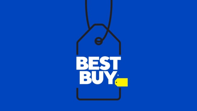 Illustration of a sales tag showing the Best Buy logo.