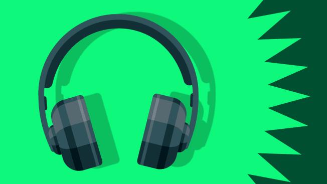 illustration of headphones on green background