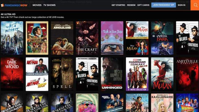 fandango now home screen 4K screen grab