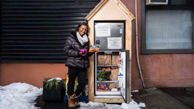 Anaika Forbes and community fridge in Brooklyn
