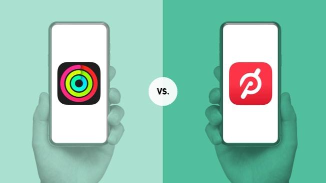 Fitness+ app on phone and Peloton app on phone
