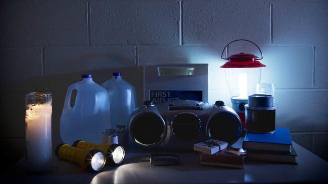 Emergency supplies seen in a dark basement