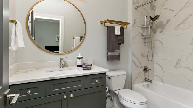 small bathroom with under the sink cabinet