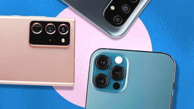 details of the camera lenses of 3 different smartphones