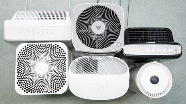 overhead shot of 6 air purifiers grouped together