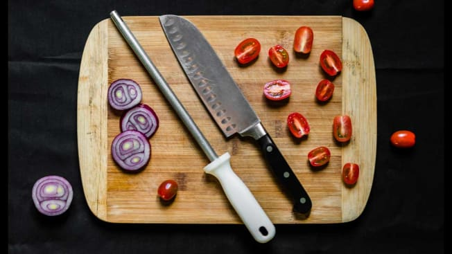 Honing board and knife on cutting board