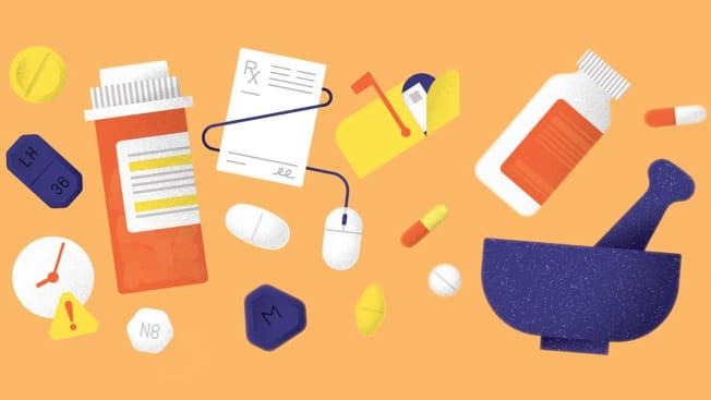 illustration of medication and pill bottles
