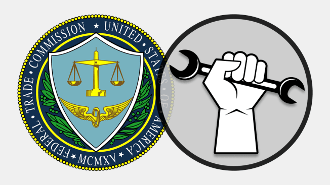 The Federal Trade Commission seal next to the right-to- repair symbol