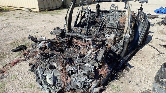 2019 Tesla Model S P100D burned after a crash in Texas
