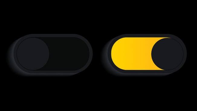 Two illustrated toggle buttons that resembles eyes