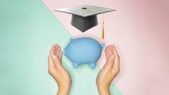 Two hands around a piggy bank with a graduation cap floating over the piggy bank.