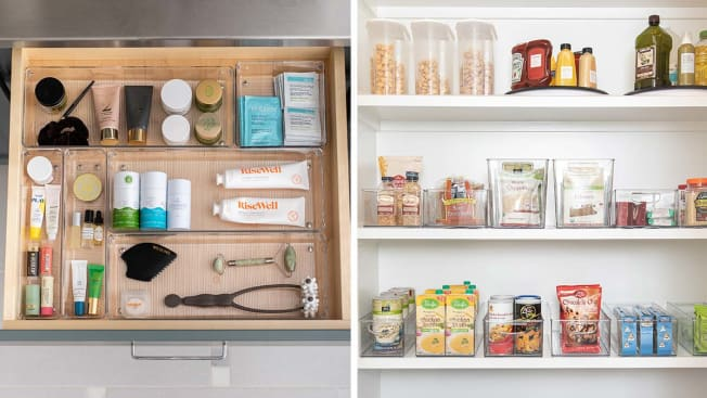 A drawer pulled out to reveal organized beauty products and a pantry organized using plastic bins.