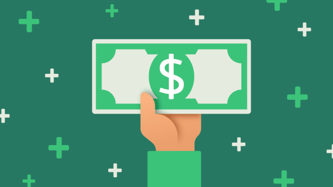 Illustration of a hand holding money with a pattern of plus signs in the background.