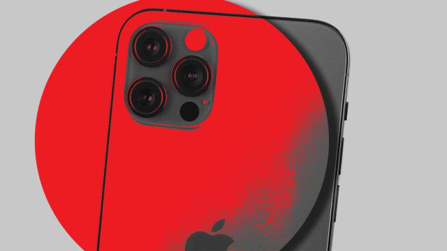 An Apple iPhone with a red circle imposed over it.