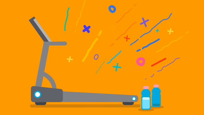Illustration of a treadmill and confetti and streamers