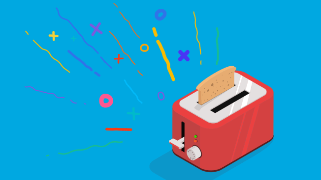 Toaster with confetti.