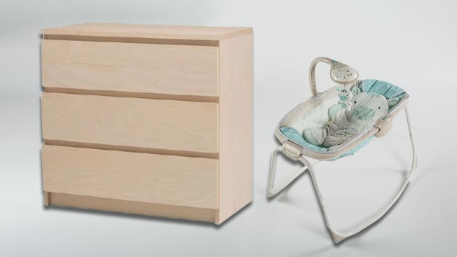 Recalled Ikea Malm dresser and and a recalled Fisher Price Rock n' Play sleeper