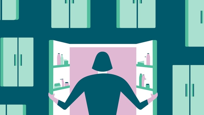 Illustration of a person opening a refrigerator