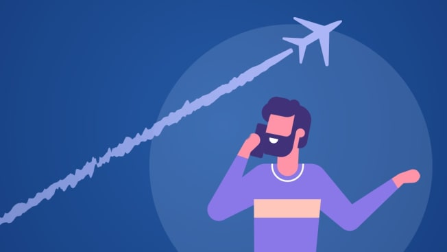 Illustration of a person talking on the phone with a plane flying overhead.