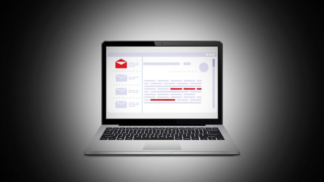 Illustration of a laptop opened to email with a dark vignette surrounding it.