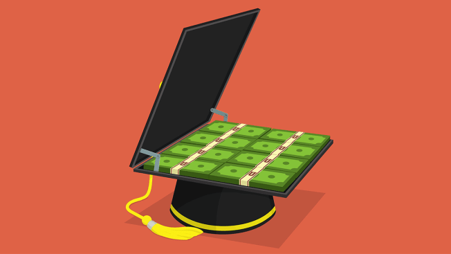 Illustration of a graduation cap the top of which is opened up to reveal a briefcase of money