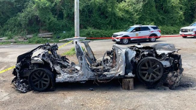 A 2021 Tesla Model S Plaid after a fire in Pennsylvania