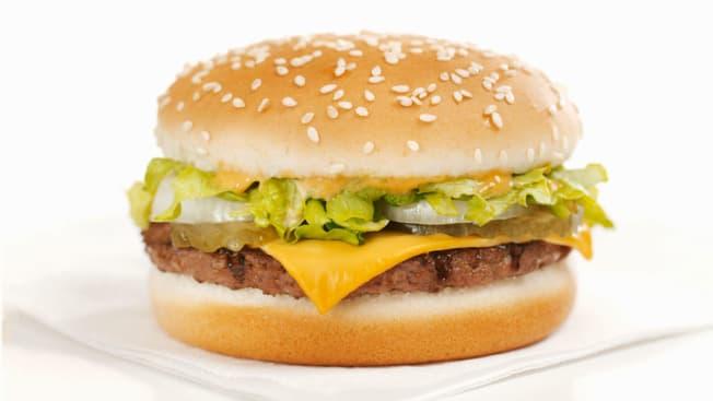 Cheeseburger on napkin