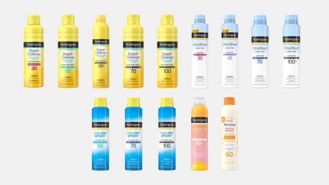 Bottles of recalled Neutrogena and Aveeno Spray Sunscreens from Johnson & Johnson