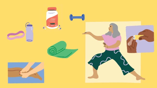 illustration of workout equipment, person doing tai chi, and hand massage