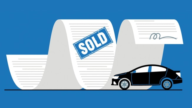 Illustration of long receipt with sold stamp, signature and car icon