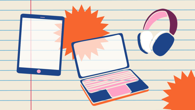 Illustration of electronic devices floating on a background of notebook paper.