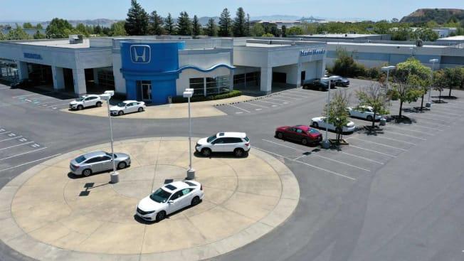 A sales lot at Marin Honda is nearly empty on July 09, 2021 in San Rafael, California