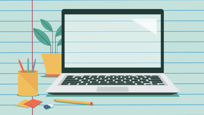 Illustration of a desk set up with laptop with a background of notebook paper