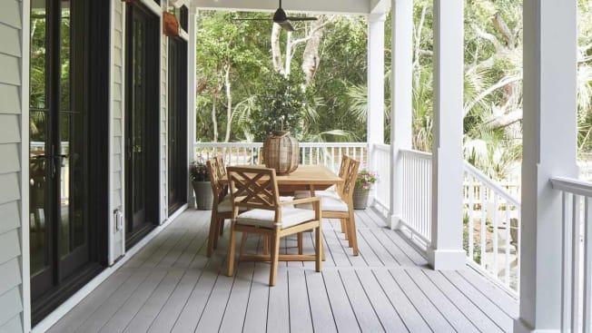 Azek composite harvest decking on a front porch