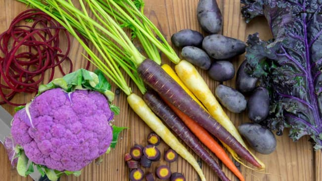 purple veggies and other colorful carrots