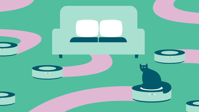 Illustrations of several robotic vacuums zooming around a couch, one of which is being ridden by a cat.