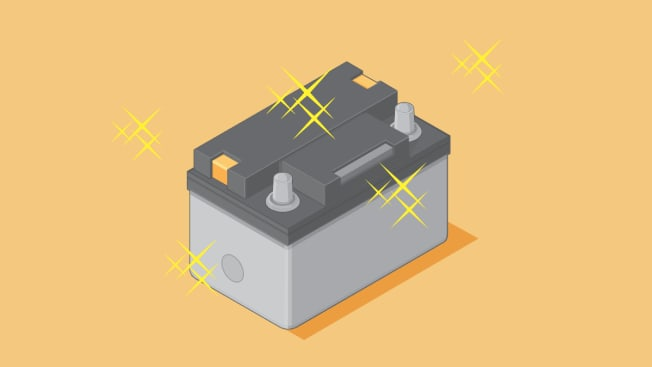 Illustration of a car battery with blingy start around it