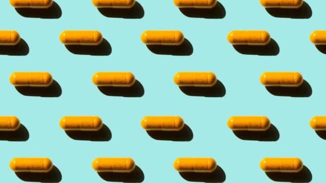 turmeric pills in grid pattern