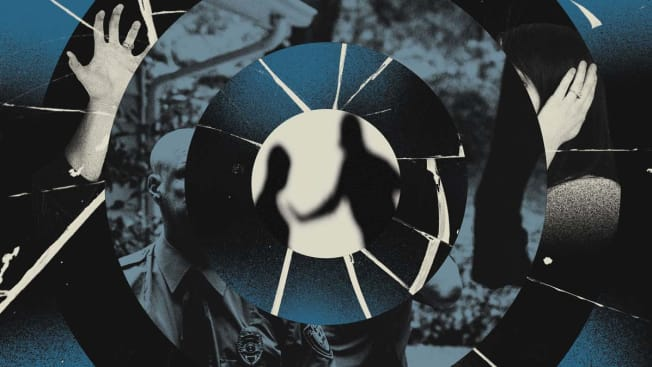 Collage of a silhouette of two people with a police officer in the background, seen through the lens of a Ring doorbell.