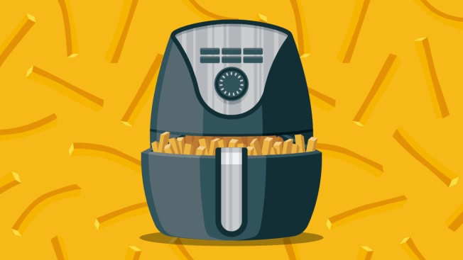 Illustration of an air fryer surrounded by french fries.
