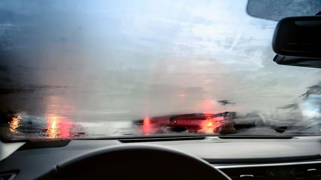 Foggy car window.