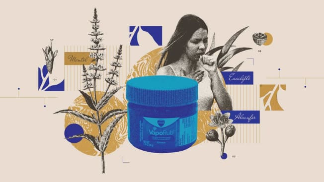 A collage of images that includes a container of Vick's VaporRub, a person coughing and the medicinal plants that are included in Vick's ingredients.