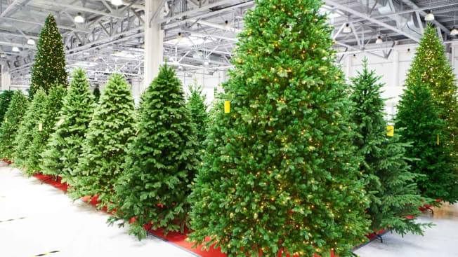 Fake Christmas trees in a store to purchase