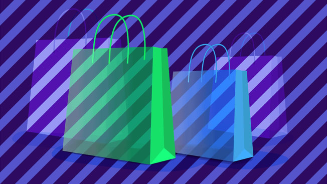 Shopping bags with striped pattern