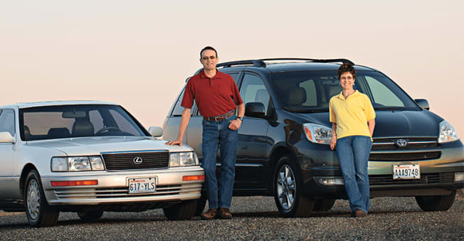 Tom and Ruth Bushaw, Kennewick, Wash.  Their 1990 Lexus LS made it past 350,000 miles; the 2004 Toyota Sienna went over 200,000.