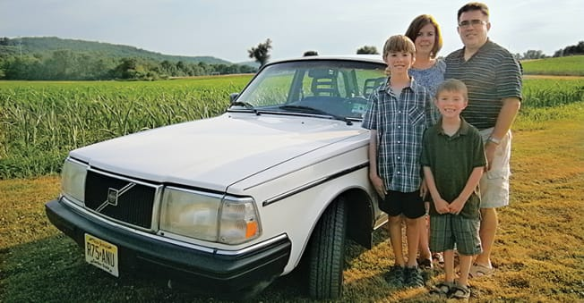 Evanowski family (Ed, Michelle, with sons Jonathan and Peter), Bloomsbury, N.J.  Their 1990 Volvo 240DL was still doing family duty after 300,000 miles.